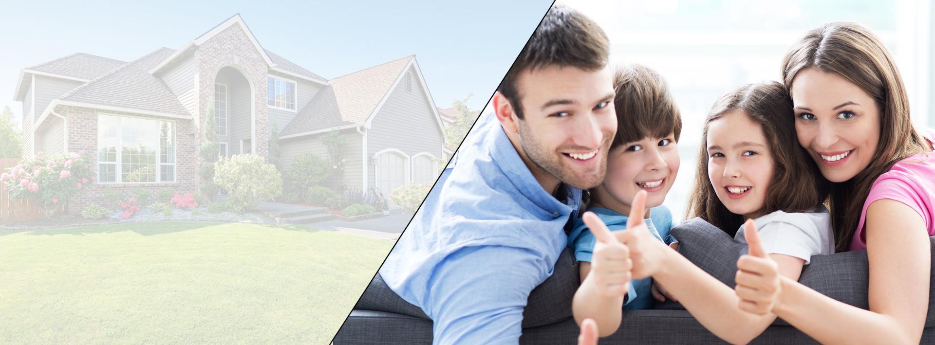 Banner with home and family on sofa thumbs up